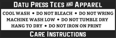 Care Instructions: Cool Wash, Do Not Bleach, Do Not Wring, Machine Wash Low, Do Not Tumble Dry, Hang to Dry, Do Not Iron on Print